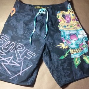 Ed Hardy Mens Swim Shorts Size 34 Preowned!